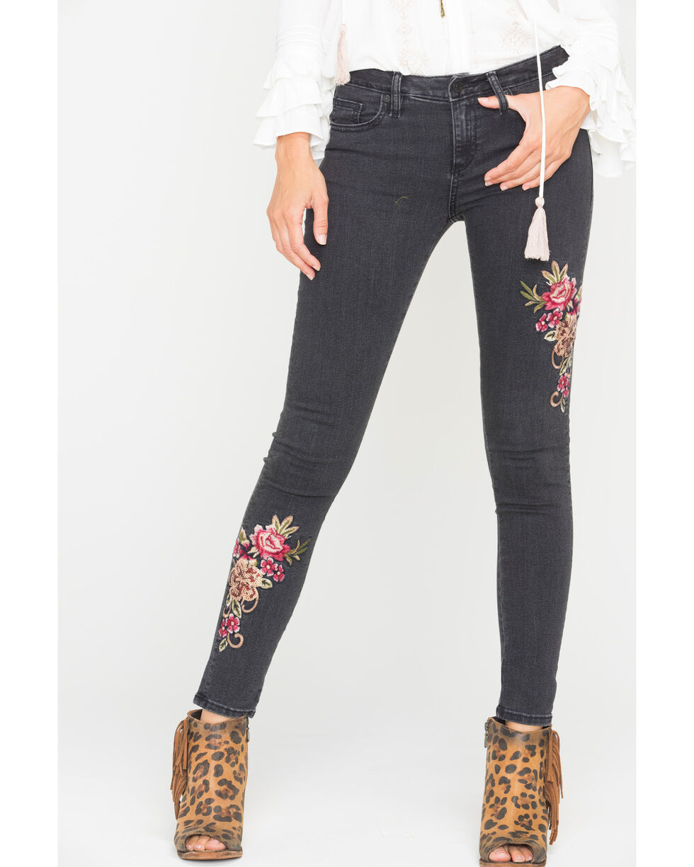 Miss Me Women's Floral Embroidered Mid-Rise Ankle Skinny Jeans , Blue, hi-res