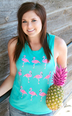 ATX Mafia Women's Teal Flamingo Tank, Turquoise, hi-res