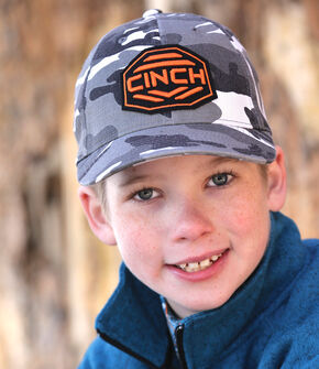 Cinch Boys' Grey Camo Flexfit Ballcap, Black, hi-res