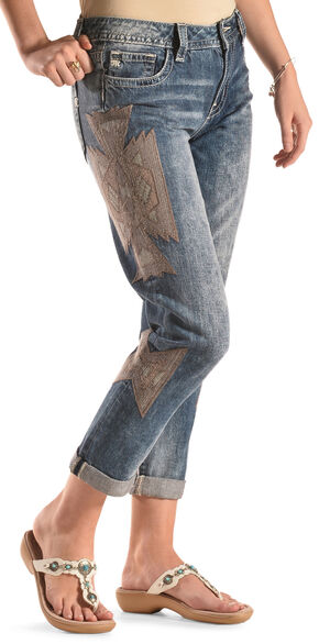 Miss Me Women's Aztec Boyfriend Ankle Jeans , Denim, hi-res