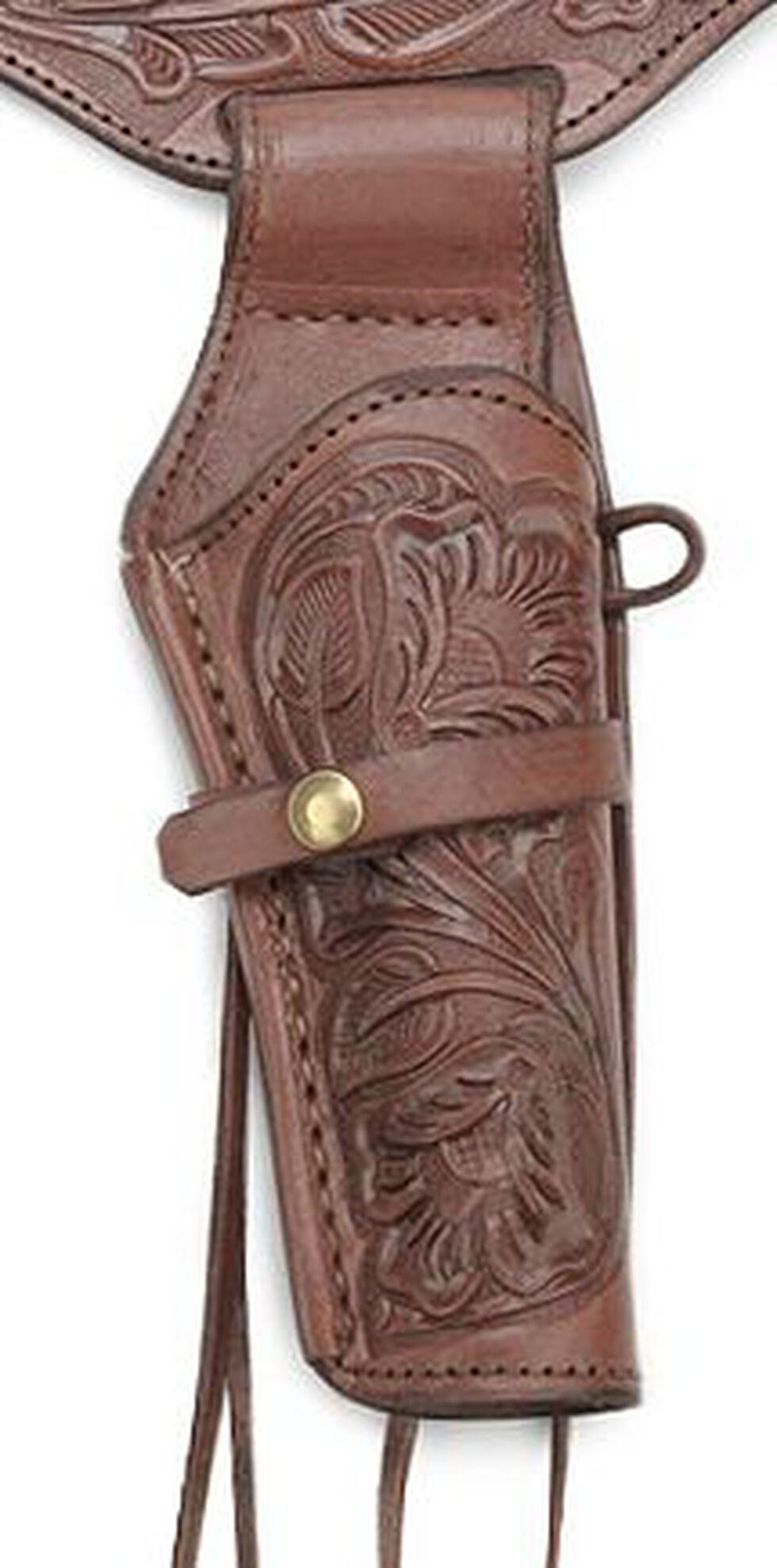 Western Express .45 Caliber Hand Tooled Leather Single-Gun Belt & Holster, Chocolate, hi-res