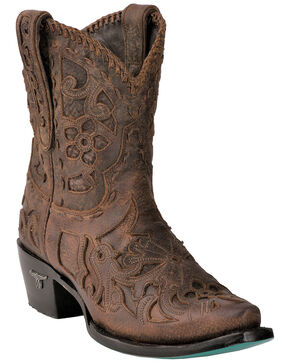 Lane Women's Robin Inlay Cowgirl Booties - Snip Toe , Brown, hi-res