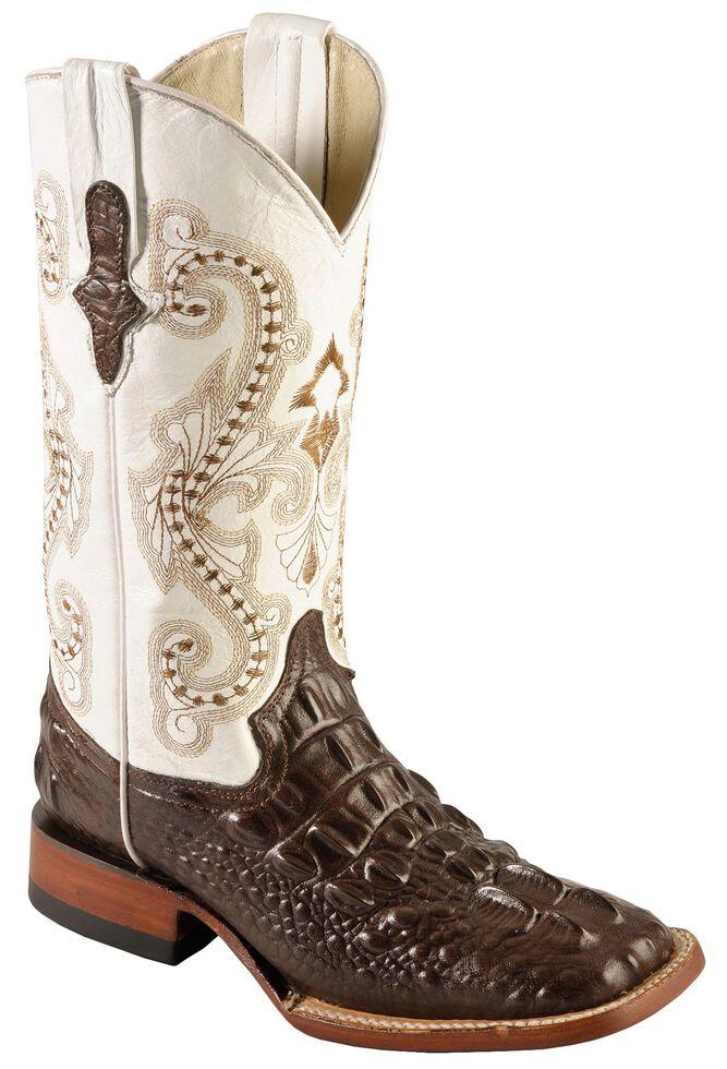 Ferrini Hornback Caiman Print Cowgirl Boots Wide Square