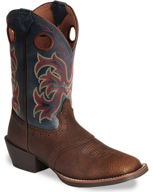Justin Youth Boys' Junior Stampede Cowboy Boots - Square Toe, Dark Brown, hi-res