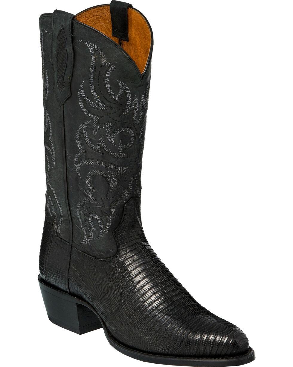 Tony Lama Men's Black Teju Lizard Cowboy Boots - Round Toe, Black, hi-res