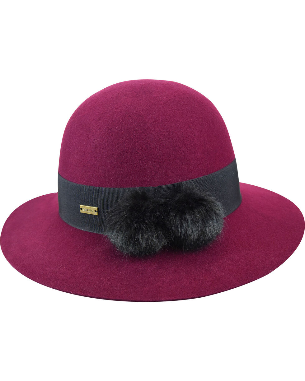 Betmar Women's Mullins Cranberry Round Crown Hat, Purple, hi-res
