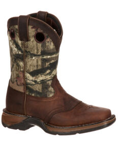 Durango Boys' Camo Saddle Western Boots - Square Toe, Brown, hi-res