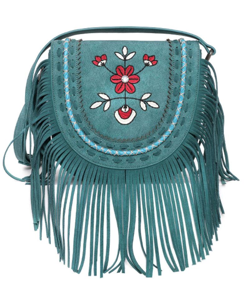 Montana West Women's Wrangler Floral Crossbody Bag, Turquoise, hi-res