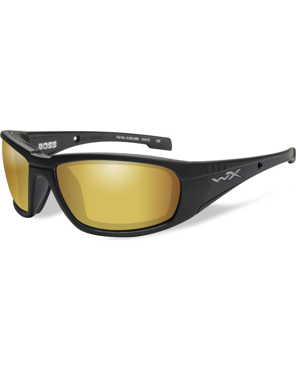 Wiley X Boss Polarized Venice Gold Matte Black Sunglasses , Black, hi-res