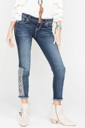 Miss Me Women's Born to Be Boho Ankle Skinny Jeans, Blue, hi-res