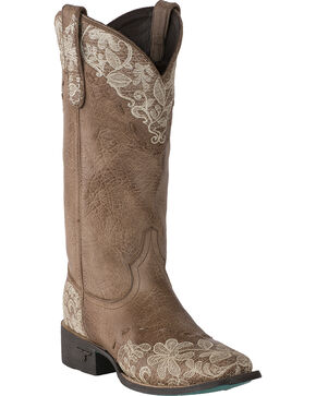 Lane Women's Jeni Lace Embroidered Cowgirl Boots - Square Toe , Natural, hi-res