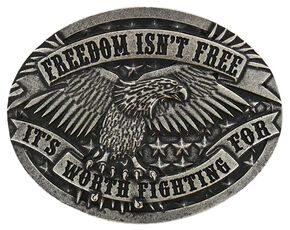 Cody James Men's Freedom Isn't Free Belt Buckle, Silver, hi-res