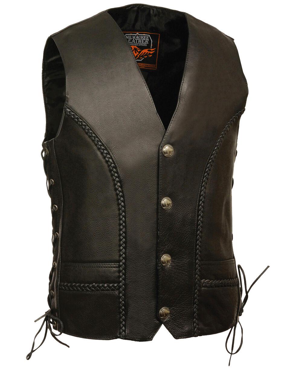 Milwaukee Leather Men's Buffalo Snap Braided Side Lace Vest, Black, hi-res