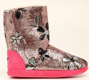 Blazin Roxx Floral Pink Sequin Slipper Booties, Pink, hi-res