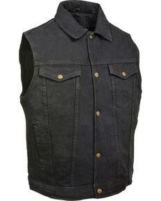Milwaukee Leather Men's Snap Front Denim Vest w/ Shirt Collar , Black, hi-res
