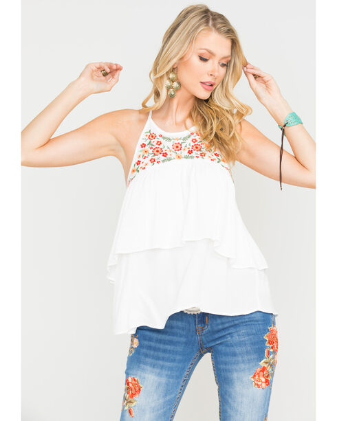 Miss Me Women's White Floral Double Layer Tank, White, hi-res