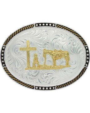 Montana Silversmiths Men's Oval Stop Ties Christian Cowboy Belt Buckle , Silver, hi-res