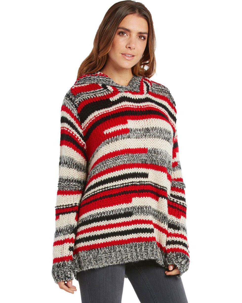 Elan Women's Wine Stripe Chunky Hooded Sweater , Wine, hi-res