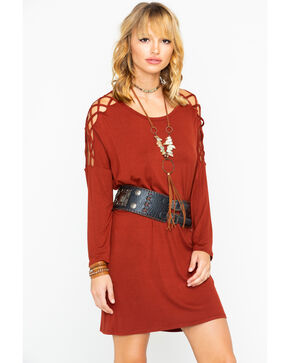 Panhandle Women's Frisscross Sleeve Inset Dress, Red, hi-res