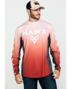 Hawx Men's Red Camo Moto Chest Logo Performance Long Sleeve Work T-Shirt - Tall , Red, hi-res