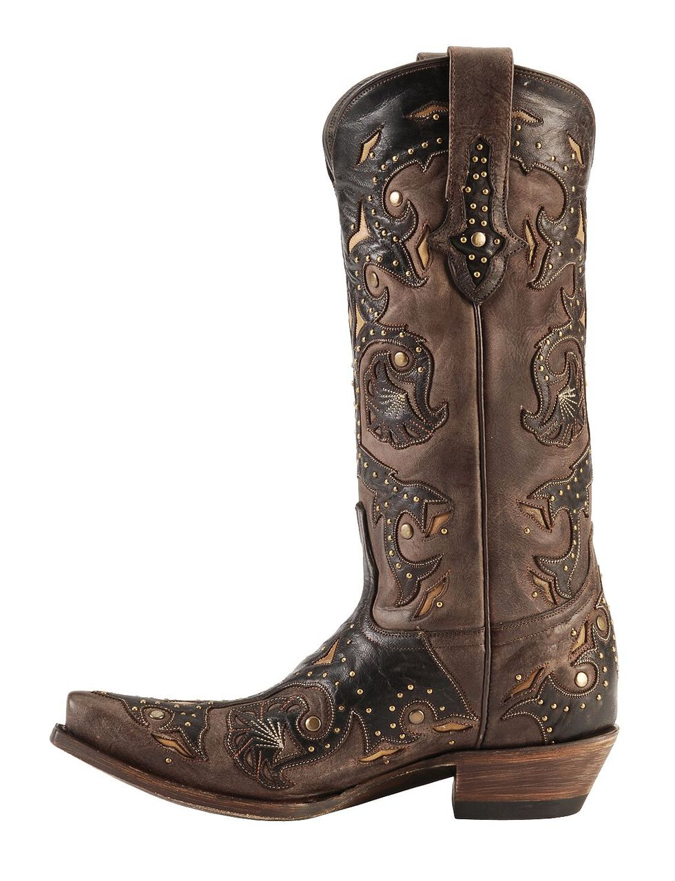 Lucchese Handcrafted 1883 Studded Fiona Cowgirl Boots - Snip Toe, Cafe, hi-res