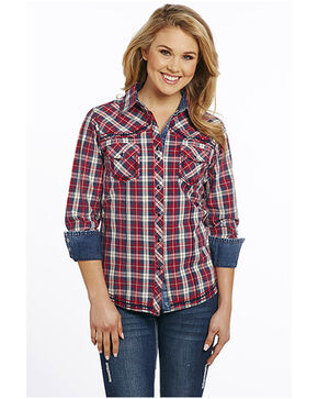 Cowgirl Up Women's Vintage Wash Plaid Stitched Long Sleeve Western Shirt, Red, hi-res