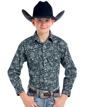 Roughstock by Panhandle Boys' Navasota Vintage Print Long Sleeve Western Shirt, Black, hi-res