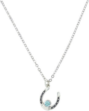 Sterling Lane Women's March Birthstone Necklace , Silver, hi-res
