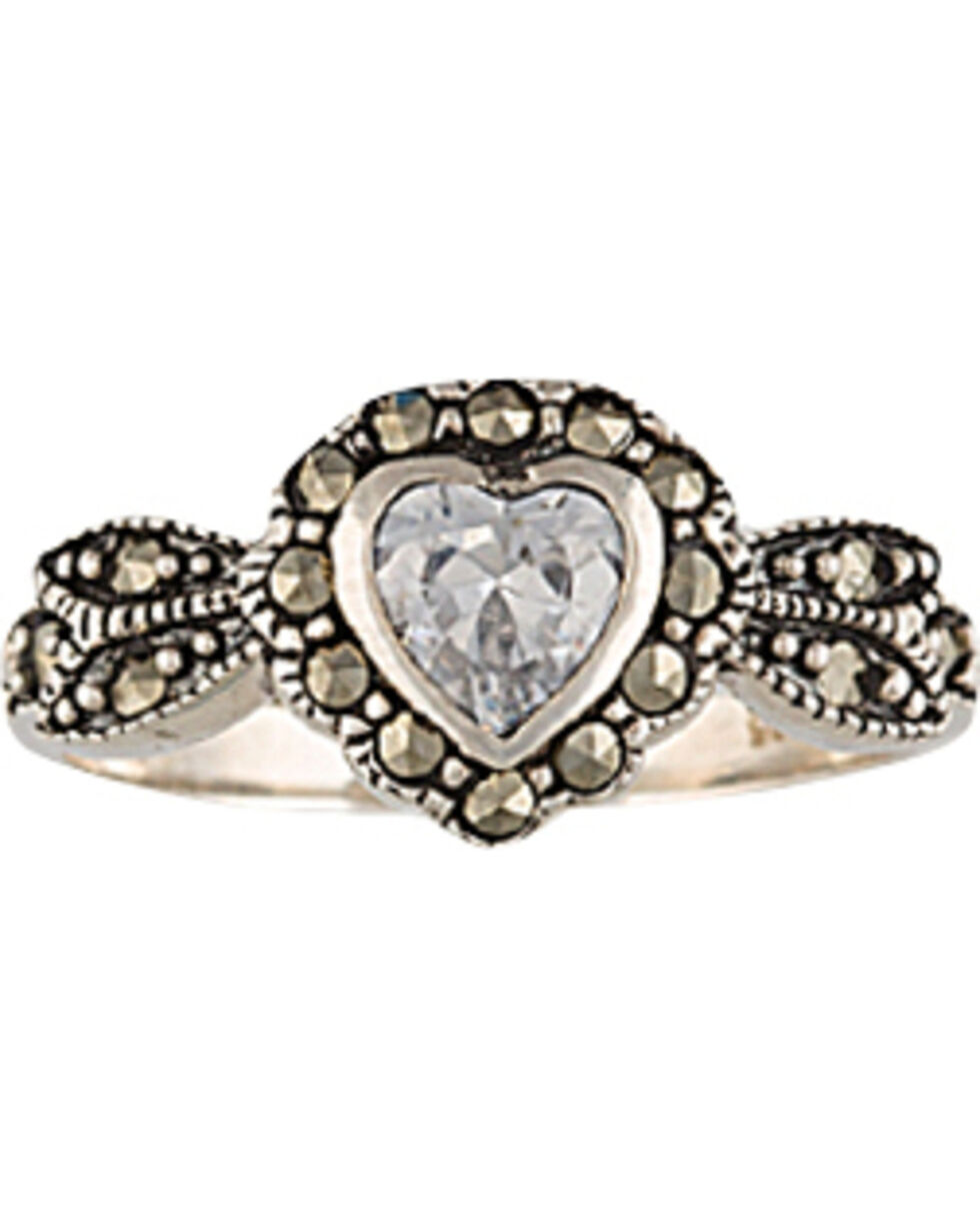 Montana Silversmiths Sparks Will Fly Framed Heart Marcasite Ring, Silver, hi-res