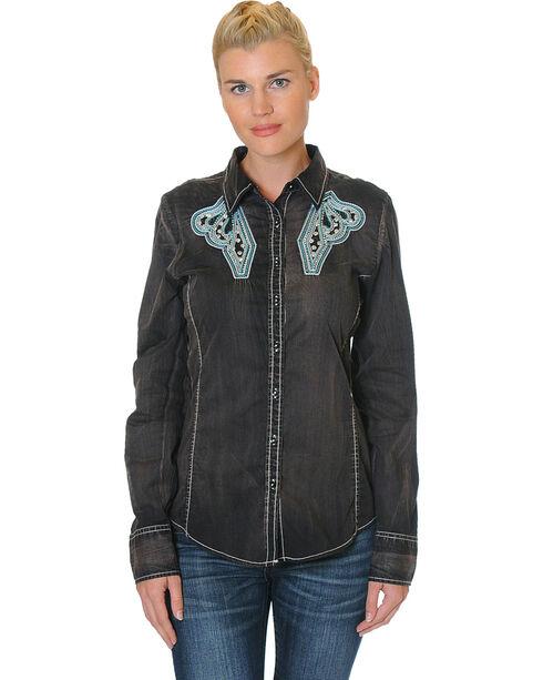 Grace in La Women's Embroidered Yoke Long Sleeve Shirt , Black, hi-res
