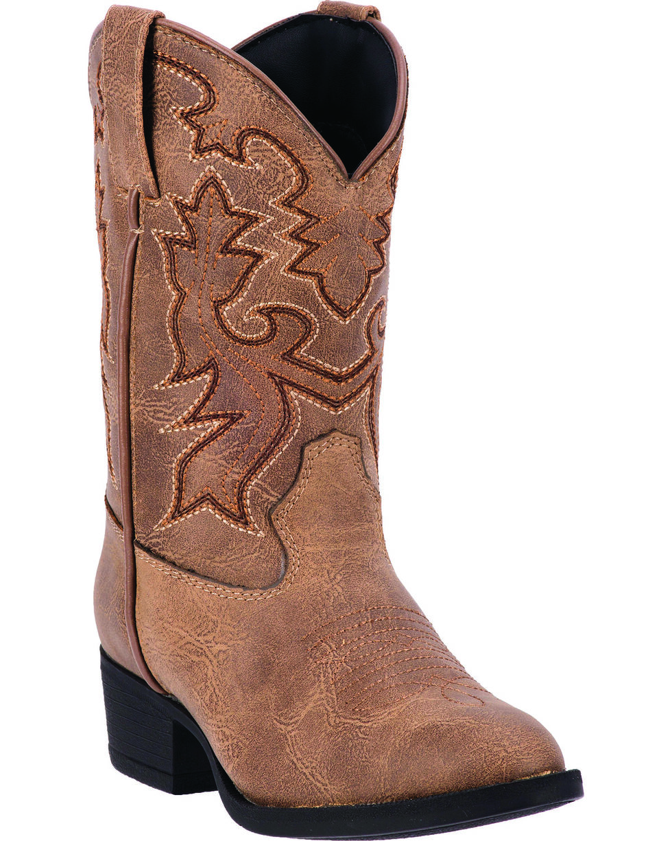 Laredo Boys' Brown Hoss Cowboy Boots - Round Toe, Taupe, hi-res
