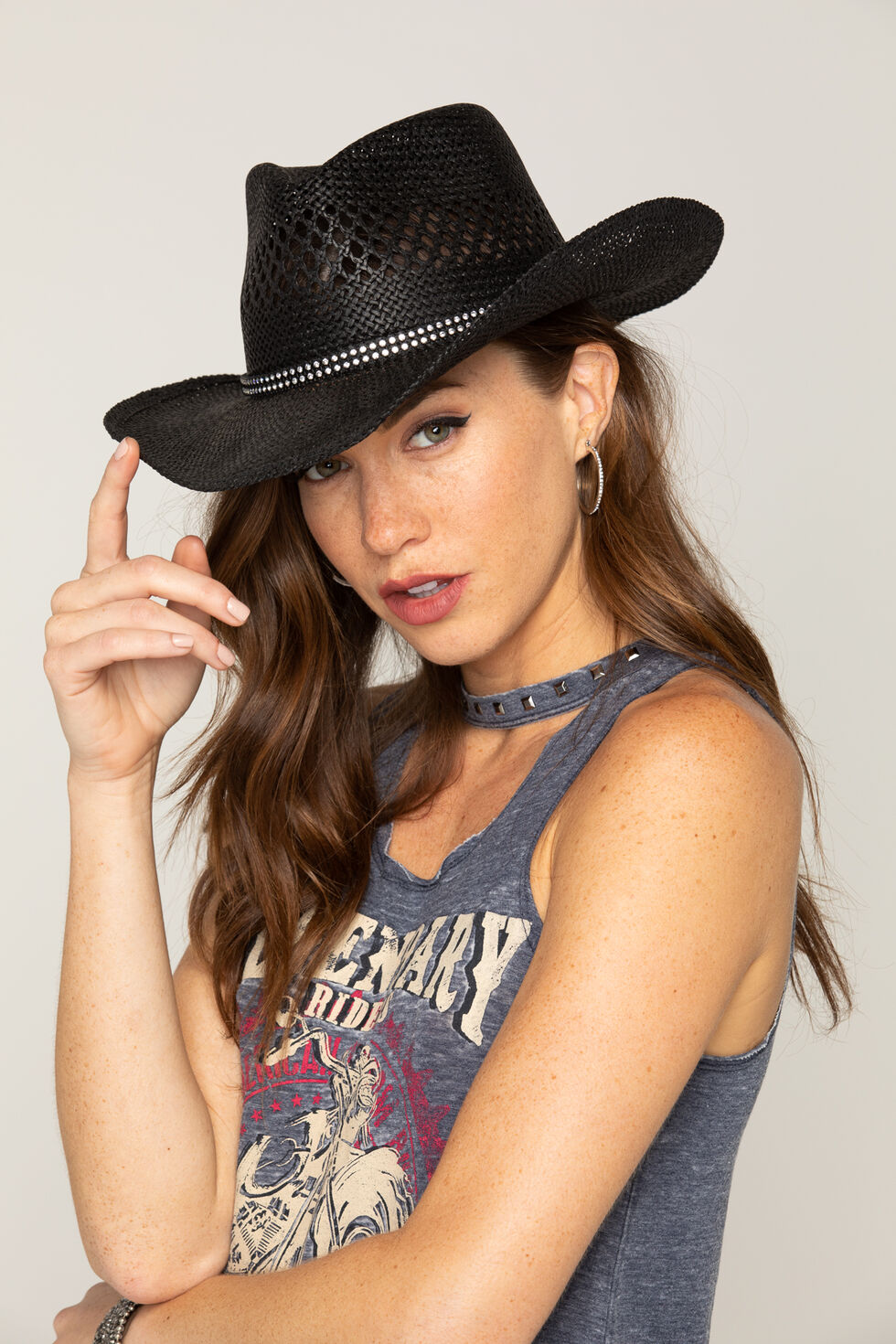 Shyanne Women's Black Bling Straw Cowgirl Hat, Black, hi-res