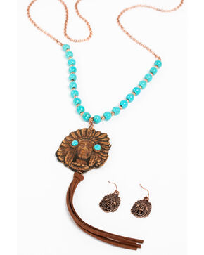 Shyanne Women's Apache Turquoise Tassel Jewelry Set, Turquoise, hi-res