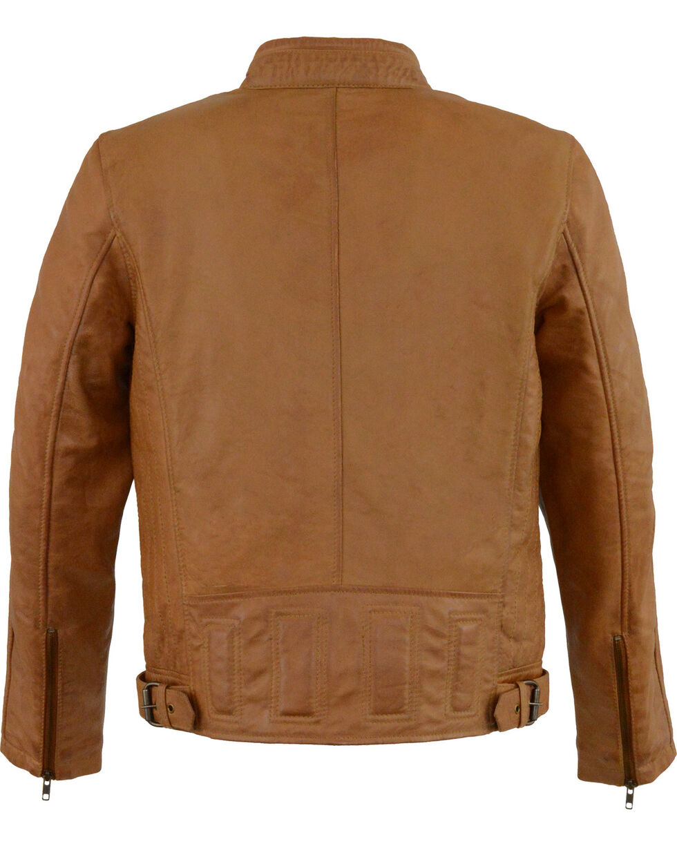 Milwaukee Leather Men's Tan Stand Up Collar Leather Jacket  , Tan, hi-res