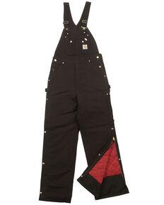 Carhartt Quilt Lined Zip To Thigh Bib Overalls - Big & Tall, Black, hi-res