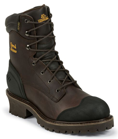 "Chippewa 8"" Waterproof & Insulated Lace-up Logger Boots - Composition Toe, Chocolate, hi-res"