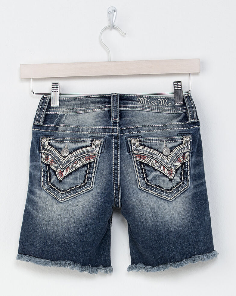 Miss Me Girls' Sparks Fly Mid Shorts, Indigo, hi-res