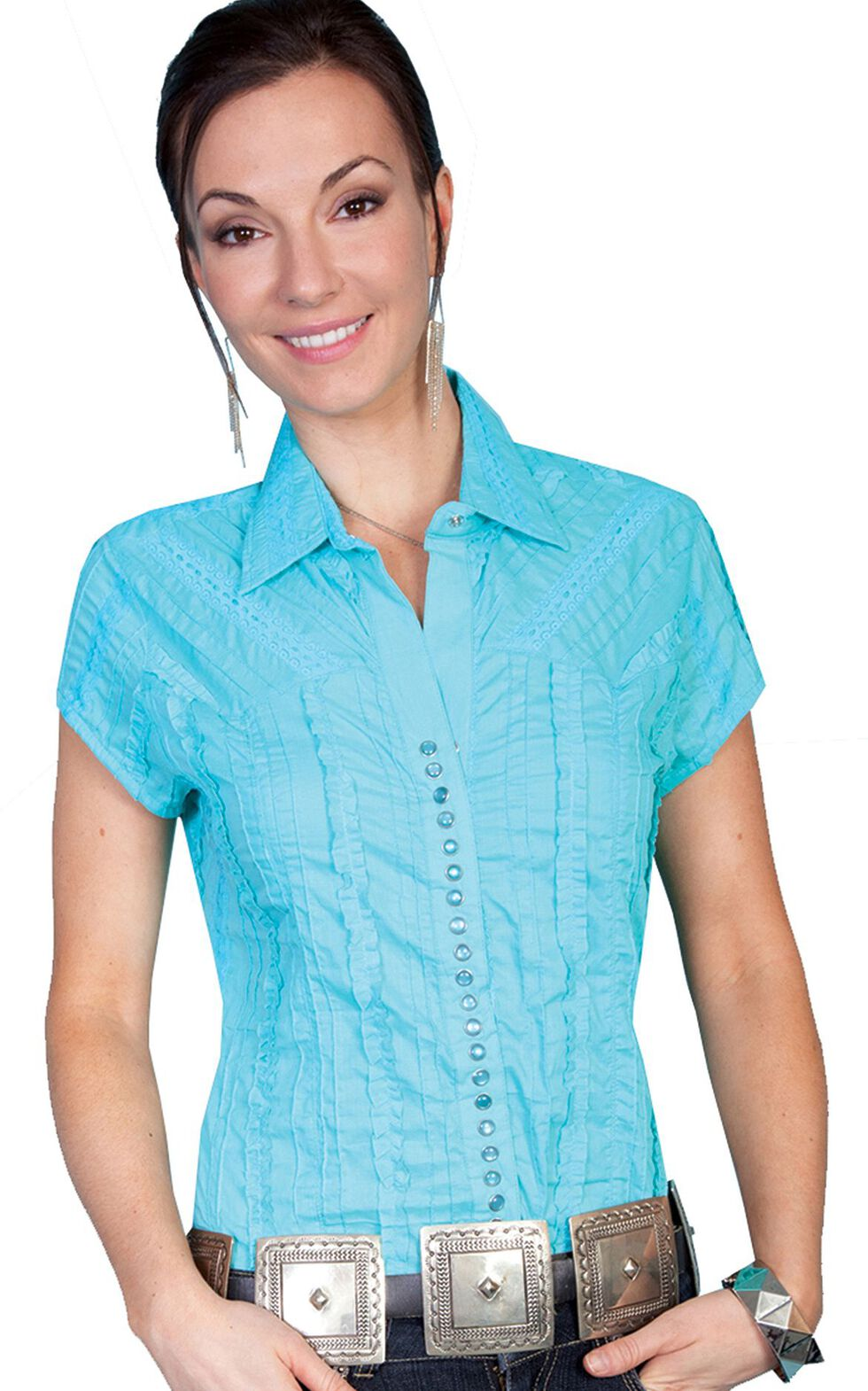 Scully Cap Sleeve Top, Turquoise, hi-res