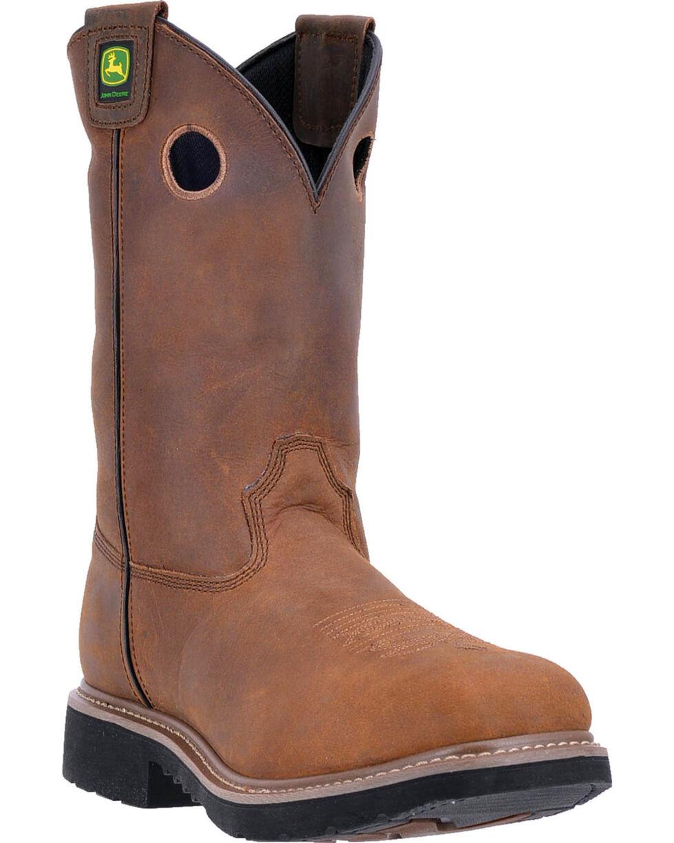 """John Deere Men's 11"""" Non-Metallic Dip Top Boots - Composite Toe , Brown, hi-res"""