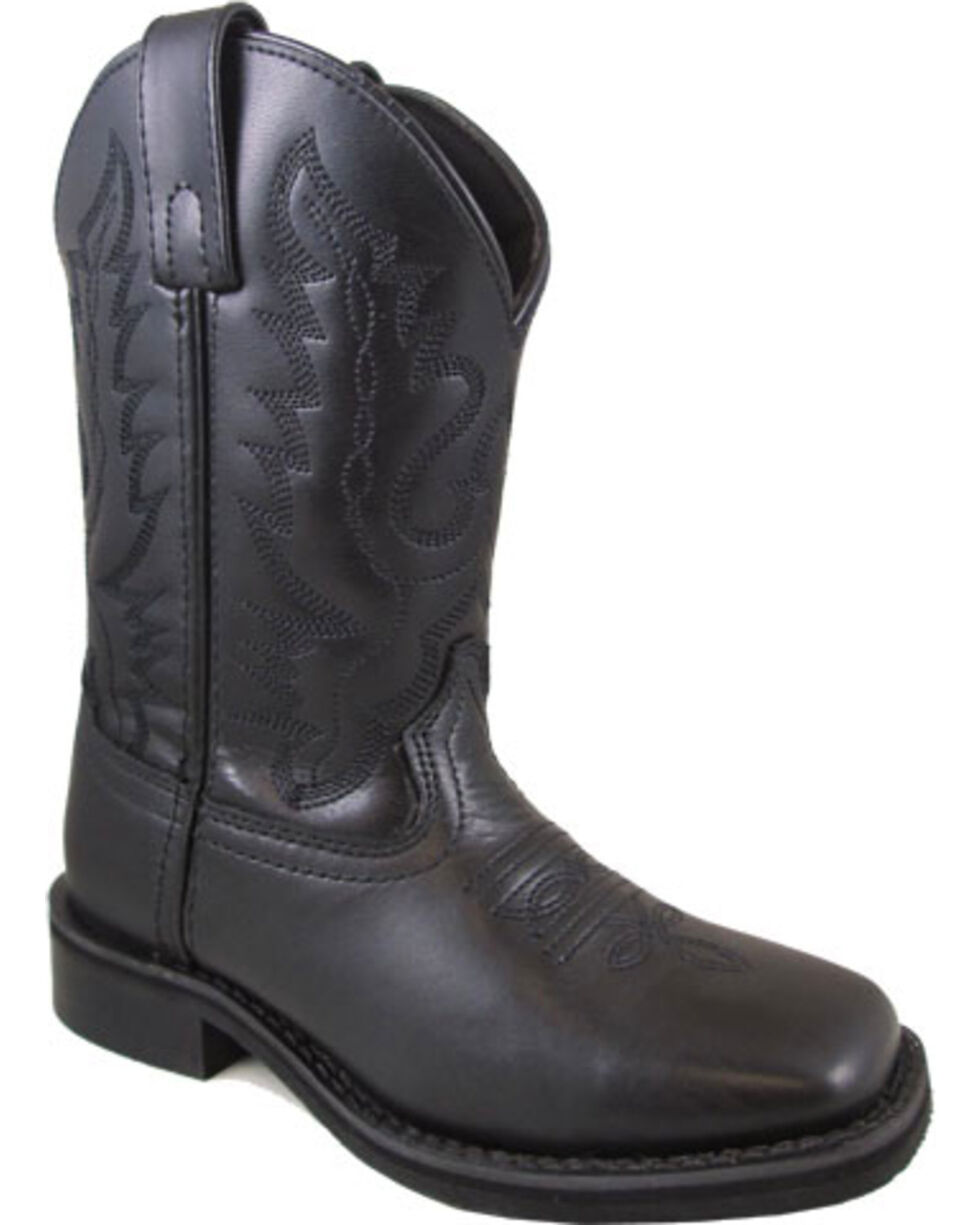 Smoky Mountain Youth Boys' Black Outlaw Cowboy Boots - Square Toe , Black, hi-res