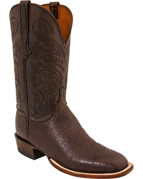 Lucchese Men's Handmade Lance Smooth Ostrich Horseman Boots - Square Toe, Dark Brown, hi-res