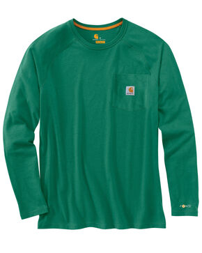 Carhartt Force Long Sleeve Work Shirt, Green, hi-res