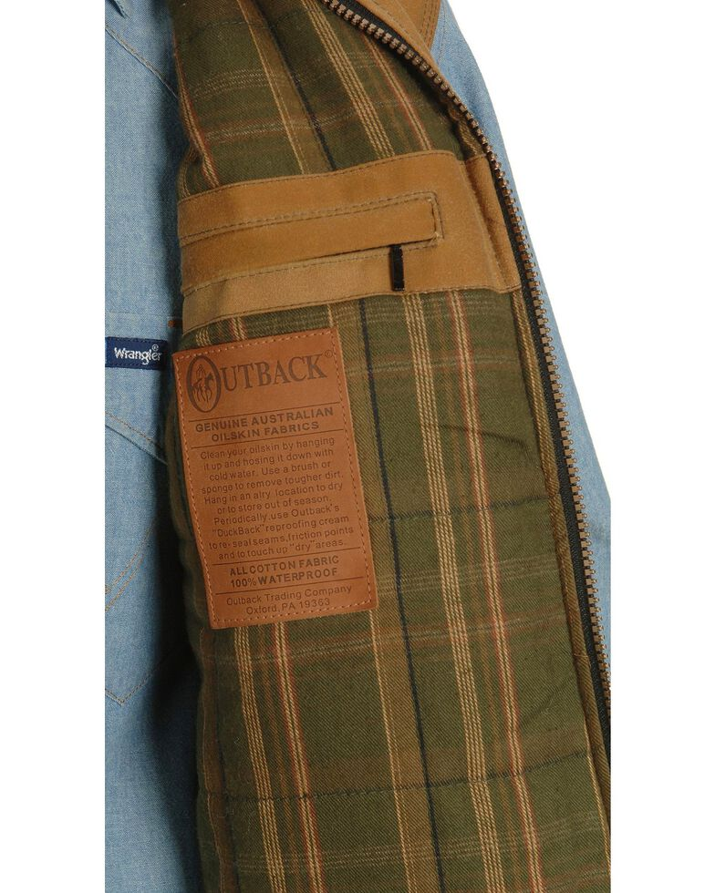 Outback Trading Co. Sawbuck Flannel Lined Oilskin Vest, Tan, hi-res