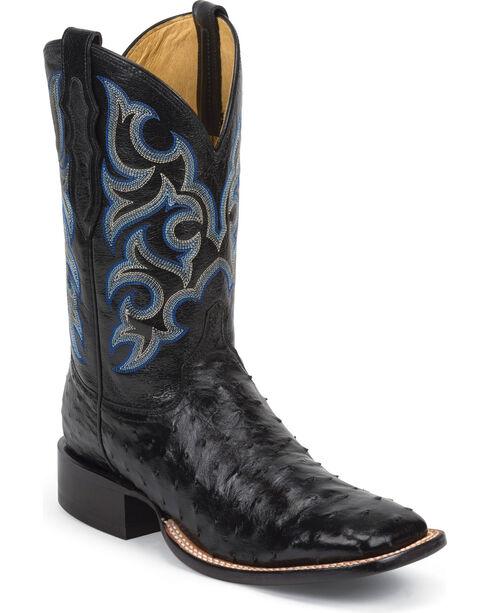 Justin Men's Black Truman Full Quill Ostrich Cowboy Boots - Square Toe, Black, hi-res