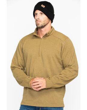NSA Drifire Men's Military Mock Zip Fleece Work Shirt , Brown, hi-res