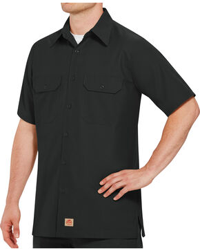 Red Kap Men's Solid Color Rip Stop Short Sleeve Work Shirt - Big & Tall, Black, hi-res