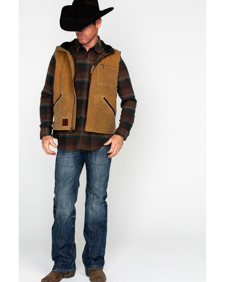 Outback Trading Co. Sawbuck Flannel Lined Oilskin Vest, Tan, hi-res
