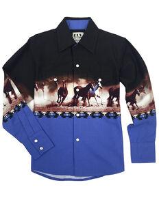 Ely Cattleman Boys' Blue Aztec Horse Border Print Long Sleeve Western Shirt , Blue, hi-res