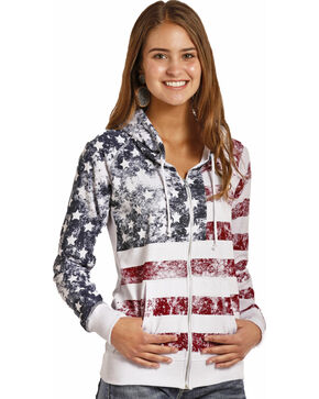 Rock & Roll Cowgirl Women's American Flag Zip Hoodie , Red/white/blue, hi-res