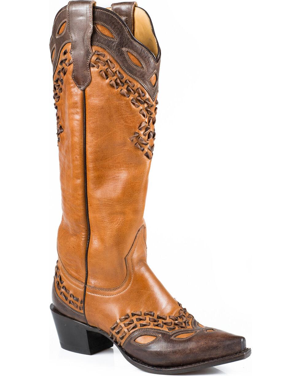 "Stetson Women's 15"" Burnished Box Stitch Western Boots - Snip Toe, , hi-res"
